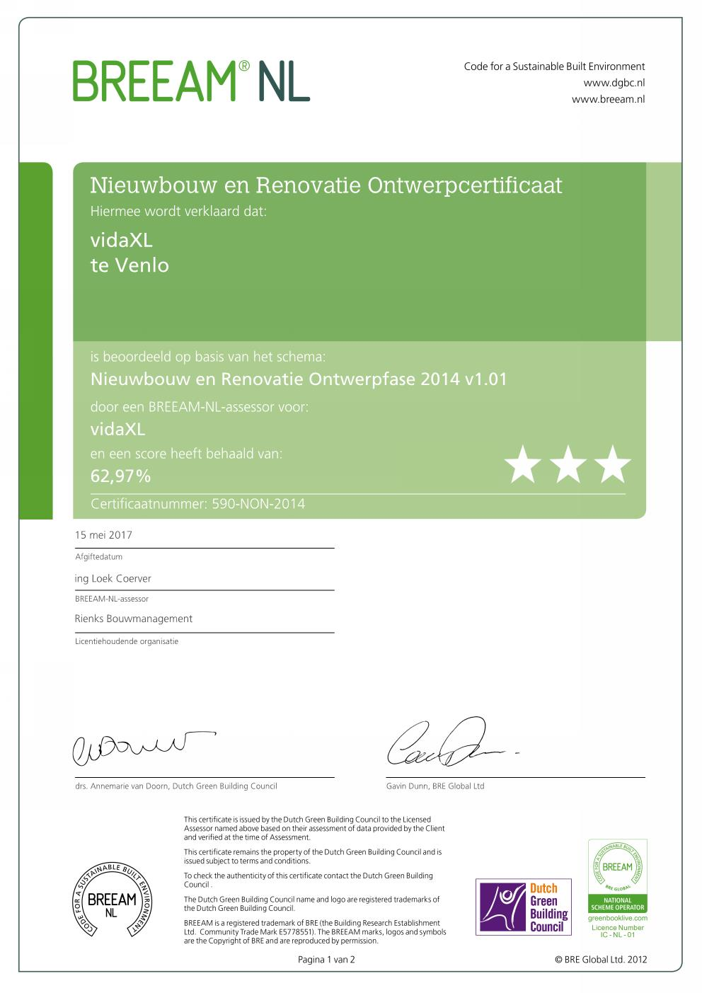 Certificaat vidaXL Very Good Pagina 001